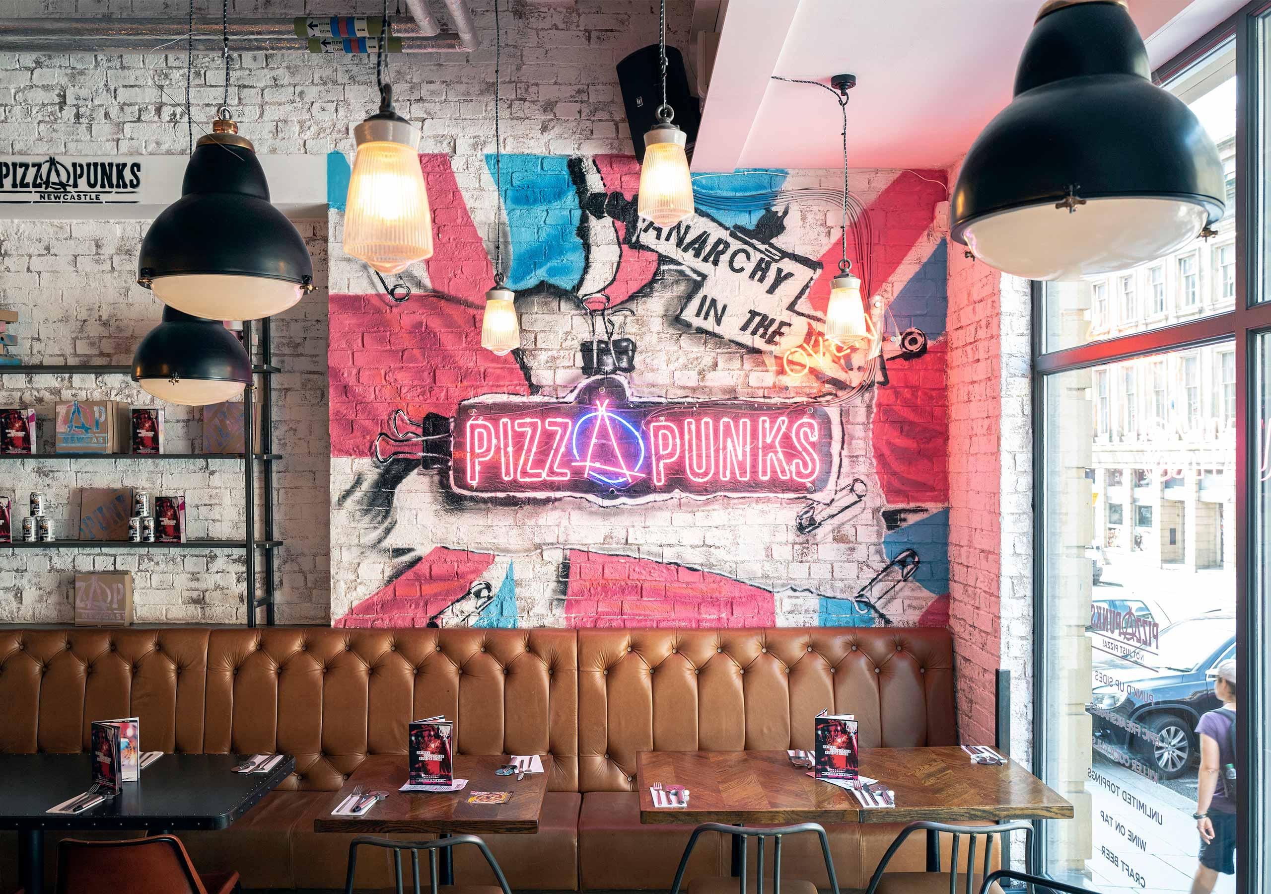 Neon Signage Interior Design Pizza Punks